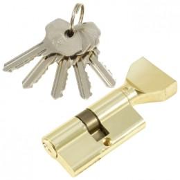 "Личинка замка ""PLP"" 60 мм английский ключ/вертушка Полированная латунь"