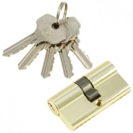 "Личинка замка ""PLP"" 60 мм английский ключ/ключ  Полированная латунь"