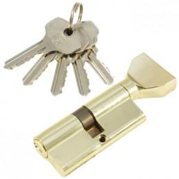 "Личинка замка ""PLP"" 70 мм английский ключ/вертушка  Полированная латунь"