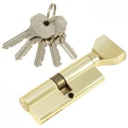 "Личинка замка ""PLP"" 80 мм английский ключ/вертушка Полированная латунь"
