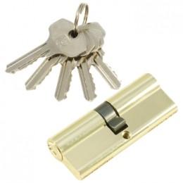 "Личинка  замка ""PLP"" 80 мм английский ключ/ключ  Полированная латунь"
