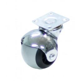 Колесо мебельное д.40 мм шарик поворотное (серая резина)