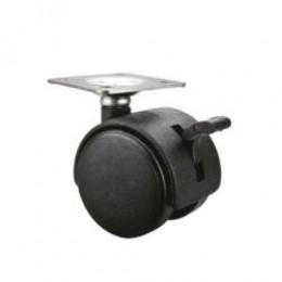Колесо мебельное d.50 с тормозом (черное)