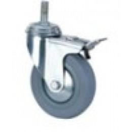Колесо серая резина д.50 мм с болтовым креплением и тормозом