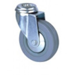 Колесо серая резина под болт д.50 мм поворотное