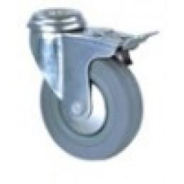 Колесо резиновое под болт с тормозом д.50 мм поворотное.