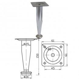 Опора d.25х150 мм конус, хром