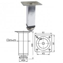 Опора 25х25*100 мм, квадратная, хром