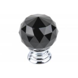 Ручка-кнопка с кристаллом, черная